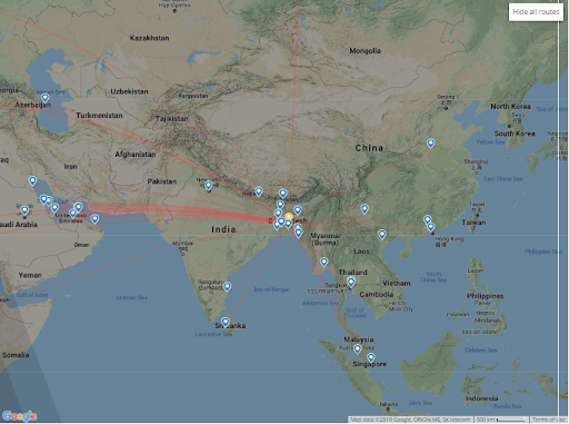 Weekly Flights from Dhaka Map