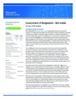 Moody's Annual Credit Analysis on Bangladesh